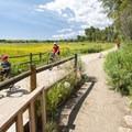 Intersection where biking and hiking converge on the South Boulder Creek Trail.- South Boulder Creek Trail via Bobolink Trailhead