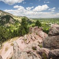 View north to Mount Sanitas (6,979 ft) from Red Rocks.- Red Rocks Trail