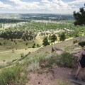 Halfway viewpoint along the Mount Sanitas Trail with views looking out over Boulder.- Mount Sanitas Trail