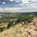 View southeast over Boulder.- Mount Sanitas Trail