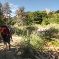 McClintock Trail with first view of Flatirons.- McClintock Trail Hike