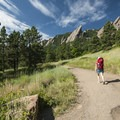 View of the Flatirons along Bluebell Road.- Royal Arch Hike