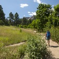 Hiking along the Chautauqua Trail.- Chautauqua Trail Hike
