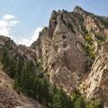 View of Eldorado Canyon's Shirt Tail Peak from The Bastille.- Eldorado Canyon State Park