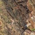 Climbers on Redgarden Wall in Eldorado Canyon State Park.- Fowler Trail