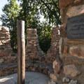 Historic stone arbor at Chautauqua Park.- Chautauqua Park + National Historic Landmark