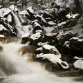 One of the waterfalls during the winter.- Tanners Flat Campground