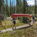 The trail is short enough to bring the canoe.- Ruth Lake