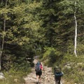 A pair of hikers heading toward White Pine for an overnighter.- Secret Falls Trail
