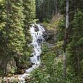 Secret Falls in the distance.- Secret Falls Trail