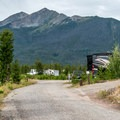 Campground roads are wide and well maintained.- Peak One Campground