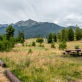 There are no large trees in the campground, but it still has a pleasant feel.- Peak One Campground