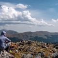 A well-deserved break at the top.- Peak 12,150 Hike