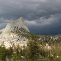Storm clouds above Cathedral Peak.- Cathedral Lakes Trail