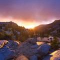 Sunset at Evolution Lake.- John Muir Trail Section 3