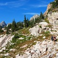 The trail is rockier and steeper after Lake Isabelle.- Long Lake, Lake Isabelle + Pawnee Pass