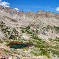 Small alpine lake along the trail.- Long Lake, Lake Isabelle + Pawnee Pass