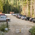 Busy morning at the trailhead.- Wedgemount Lake Hike