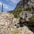 Rockslide area.- Wedgemount Lake Hike