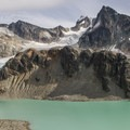 Wedge Mountain (2,891 m, central snowy peak), and the lake and glacier.- Wedgemount Lake Hike