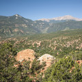 View from Garden of the Gods looking west toward Pikes Peak (14,110 ft).- Garden of the Gods National Natural Landmark