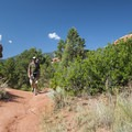 Hiker on the Palmer Trail, Garden of the Gods.- Palmer Trail