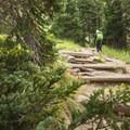 Starting off on the Arapaho Pass Trail en route to Diamond Lake.- Diamond Lake