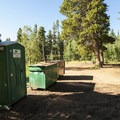 Porta-potty at Meeker Park Overflow Campground.- Meeker Park Overflow Campground