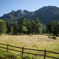 View of Twin Sisters Peak (11,428 ft) from outside of Meeker Park Overflow Campground.- Meeker Park Overflow Campground