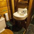 Communal restroom at Allenspark Lodge.- Allenspark Lodge Bed + Breakfast
