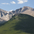 View of Mount Meeker (13,911 ft), Longs Peak (14,259 ft) and Estes Cone (11,006 ft) from Lily Mountain.- Lily Mountain Hike