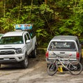 Parking area and trailhead.- Mount Fromme Mountain Bike Trails: No Quarter + Dreamweaver Loop