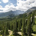 Panoramic view of the Glacier Creek Valley and Rocky Mountain National Park.- Nymph, Dream + Emerald Lakes Hike