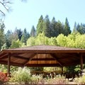 This gazebo and the nine ponderosa pines surrounding it commemorate the nine firefighters who lost their lives in the South Canyon fires of 1994.- Peavy Arboretum