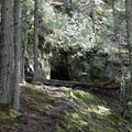 The cave along the way.- Orcas Island: Cold Springs Trail to Mount Constitution Summit