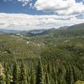 View looking northeast over Glacier Creek Valley.- Lake Haiyaha Hike