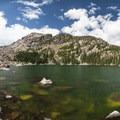 Panoramic view of Lake Haiyaha, Rocky Mountain National Park.- Lake Haiyaha Hike