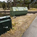 Bear proof garbage and recycling receptacles at Glacier Basin Campground.- Glacier Basin Campground