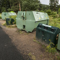 Bear-proof garbage and recycling receptacles at Aspenglen Campground.- Aspenglen Campground