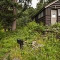 Old restroom facilities at Aspenglen Campground.- Aspenglen Campground