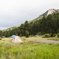 Aspenglen Campground, C Loop, with a view of Deer Mountain (9,937 ft) in the background.- Aspenglen Campground