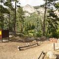 Entry to walk-in campsites at Aspenglen Campground.- Aspenglen Campground