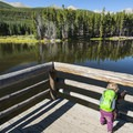 Sprague Lake fishing platform.- Sprague Lake Loop Hike