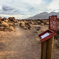 The Bureau of Land Management maintains a registry at the trailhead to monitor area use.- Fossil Falls