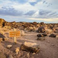 A trail from an adjacent campground forks with the Fossil Falls Trail.- Fossil Falls