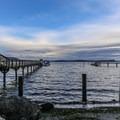 Olga beach and pier at dusk.- Orcas Island: Olga Beach + Pier