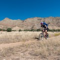 Straight shot with a view of the Bookcliffs in the background.- 18 Road Mountain Bike Trails: Kessel Run