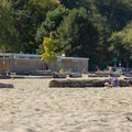 The East's concessions and restrooms.- Spanish Banks Beach
