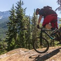 Rock roll under Mount Currie.- One Mile Lake Mountain Bike Trails: Lumpy's Epic
