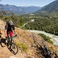 Much of the trail has great views of Mount Currie and the Pemberton Valley.- One Mile Lake Mountain Bike Trails: Lumpy's Epic